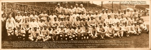 Old Timers' Day - Braves Field, Boston - Sept. 8, 1930 This panoramic has just about the best gathering of late-19th Century and early-20th Century baseball players ever assembled. They include Ty Cobb, Cy Young, Eddie Collins, Tris Speaker, Harry Hooper, Home Run Baker and on & on. Click on the picture to see a larger version.