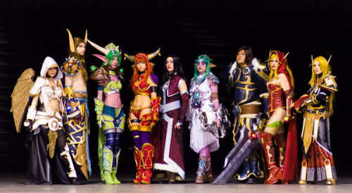 Group Cosplay Week (Day 3):  (Left to right)  Human Priest, Nozdormu, Ysera, Alexstrasza, Onyxia, Tyrande Whisperwind, Varian Wrynn, Valeera Sanguinaar and Blood elf Paladin from World of Warcraft  Cosplayers:  Lili (Human Priest) Erendrym (Nozdormu) Lye1 (Ysera) chipie2485 (Alexstrasza) Maranwe (Onyxia) Kat (Tyrande Whisperwind) Kei (Varian Wrynn) Enellya (Valeera Sanguinaar) Astria (Blood elf Paladin) Photographer: alarzy