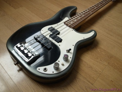 "Fender Precision Bass Plus 1989-1993Alder or Ash, Maple, Rosewood Nicknamed ""Boner P-Bass"" because of its elongated horn, it is one of the first 22 frets american made bass. Two Lace sensor pickups (one Jazz + one precision). Hear it"