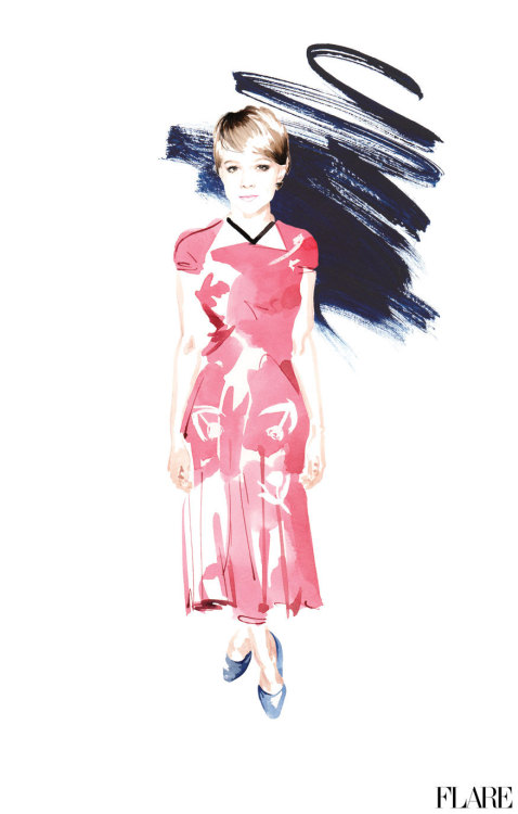 flarefashion:  Carey Mulligan - June 2012 / Illustrator: Christian David Moore New month, new outlook: See your June horoscope now!
