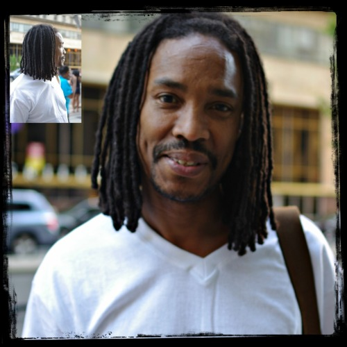 "menwithlocs:  Chippy Age: 51 From: West Philadelphia What Made You Decide To LOC Your Hair? ""Well Ive always admired them and I thought oneday I would get around to it so I finally did…."" How Long Have You Had Your LOC's? ""Ive had them for 5 years…"" Where Do You Go For Your LOC Maintenance? ""I do my own maintenance…."" What Is Your Favorite Product To Use In Your LOC's? ""Well I have several, I like the organics because their natural. Alot of the natural oils, Organic gel, and I bathe them once a week actually I use to wait a couple weeks but for me they were breaking off and the dirty the got the more damaged they got so I started using mayo too its phenomenal. Put it in your hair let it sit a bit then wash it out really good cause it will leave behind a smell and you will be surprised at the body and shine you will have afterwards….""  Any Tips For Guys Wanting To LOC Their Hair? ""Do it yourself because you will save alot of money and make sure you continue to spin them the same way everytime you retwist…."" Random Question: How Long Did It Take You To LOC Your Hair? ""It took about 2 years because I was trying out alot of different products that I wish I never tried and I was putting too much cholesterol and thick stuff and now 5 years later im still picking this stuff out because it wont was out…."""