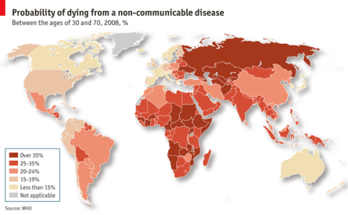 Daily chart: disease. You are more likely to be killed by a non-communicable disease, like cancer or heart disease, than anything else. In 2008 they accounted for 63% of the 56m deaths worldwide.