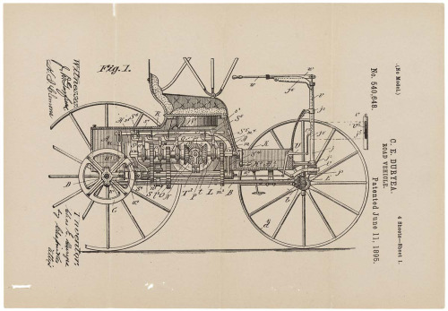 "todaysdocument:  ""Improvements in Road Vehicles"" This patent was granted to Charles Duryea on June 11, 1895, for ""Improvements in Road-Vehicles"" which he and his brother Frank had developed. The Duryeas produced the first successful American gasoline-powered automobile and later went on to help found the Duryea Motor Wagon Company, which produced 13 automobiles in 1896. We've rotated the image of the  Patent Drawing for the Duryea Road Vehicle, 06/11/1895 for your viewing pleasure. via DocsTeach"