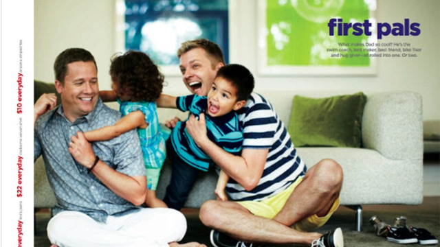 "JCPenney Responds to Homophobic Boycott Calls with Gay Father's Day AdIn what appears to be a direct response to the failed boycott campaign of anti-gay group One Million Moms, JCPenney yesterday unveiled a new Father's Day ad featuring a same-sex couple playing with their children.According to the company, the two men who appear in the ad are ""real-life dads Todd Koch and Cooper Smith,"" and the jubilant children are their kids, Claire and Mason.""First Pals: What makes Dad so cool?"" reads the ad's copy. ""He's the swim coach, tent maker, best friend, bike fixer and hug giver - all rolled into one. Or two.""Back in February, the department store chain faced criticism from the American Family Association's One Million Moms project for its hiring of Ellen DeGeneres to be the company's new spokesperson. JCPenney refused to submit to the group's bullying, and stuck by DeGeneres."