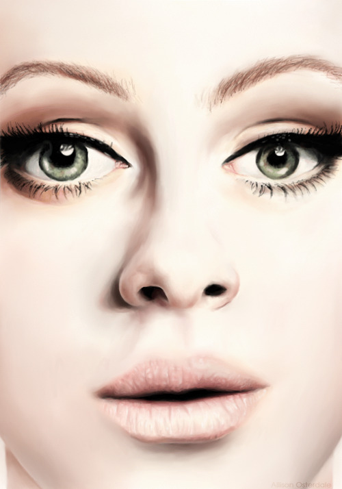 Final drawing of Adele. I used Corel Painting Essentials 4