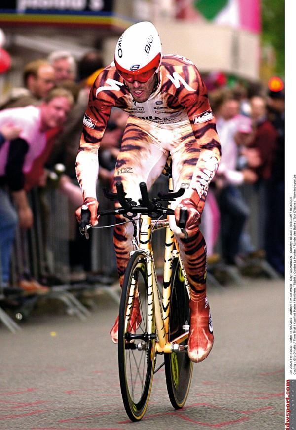 "fuckyeahcycling:  (via Mario Cipollini makes headlines at the start of the Giro in 2002 Photos | Cyclingnews.com)  ""this is my tiger suit""."