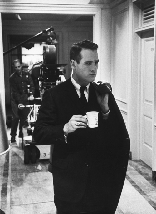 vintagesonia:   Paul Newman on the set of The Young Philadelphians, November 1958.