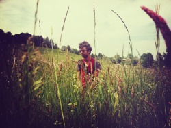 Guy Blakeslee in a Swiss lakeside field.