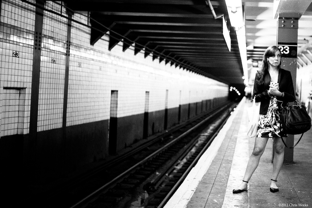 NYC, New York:  May, 2012.  Pensive anticipation. For a train. Leica M9.  '35 lux.  Aperture » Silver Efex Pro 2.