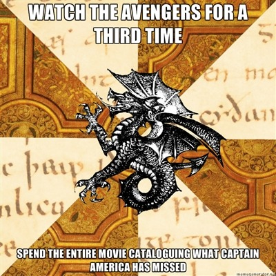 "fyeahhistorymajorheraldicbeast:  [top: watch the avengers for a third time bottom: spend entire movie cataloguing what Captain America has missed] Steve seems like a not-jerkassy human being, so I'm sure civil rights and feminism won't give him much pause, but - hm. He slept through Nixon and Watergate, so he wouldn't have the inherent distrust and cynicism towards the federal government. He might think Black Widow is a communist, but I'm guessing ""commie"" wouldn't hold the same negative connotations as someone who had actually gone through the Cold War. He'd be pretty shocked at the changing attitudes towards the armed forces in the wake of My Lai and Cambodia and Iran-Contra and the Kandahar massacre. Vacuum cleaners are weird but they perform the same function as a carpet sweeper and he's not an idiot so they won't confuse him. Modern art - he's an artist, right - that - that might be a bit jarring. Huh. Has he ever eaten a kiwi? Does he know what a kiwi is? Has someone in SHIELD explained to him that smoking cigarettes for your asthma is actually a really terrible idea? Has someone explained inflation to him so he doesn't literally faint when he goes to gas up his motorcycle? Does he have a license for that? What were popular American attitudes towards the Middle East in the early 40s? Were can openers - yeah, can openers had been invented by then, so -  ooh omg CHITAURI GO SPLODEY I shall shut up now  … ……. *swoons*"