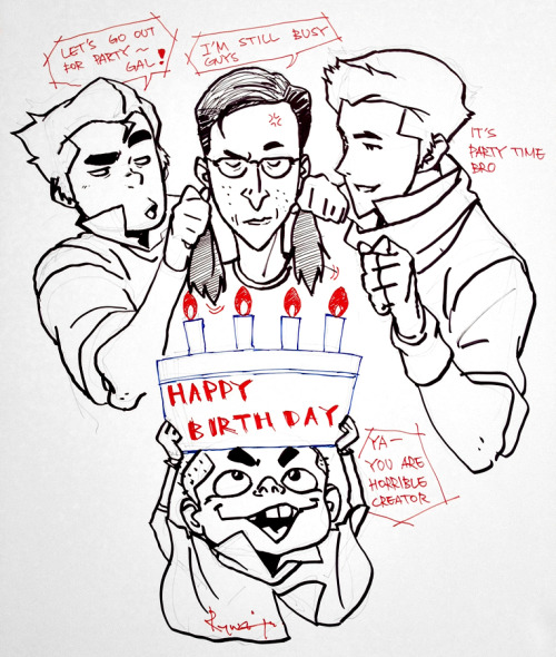 bryankonietzko:  I don't celebrate my birthday, but the crew put together a nice card for me anyway a short while back. This excerpt is Ryu's hilarious and bizarre drawing. Not sure what Bolin's intentions are here… The Meelo tag line is my favorite part.