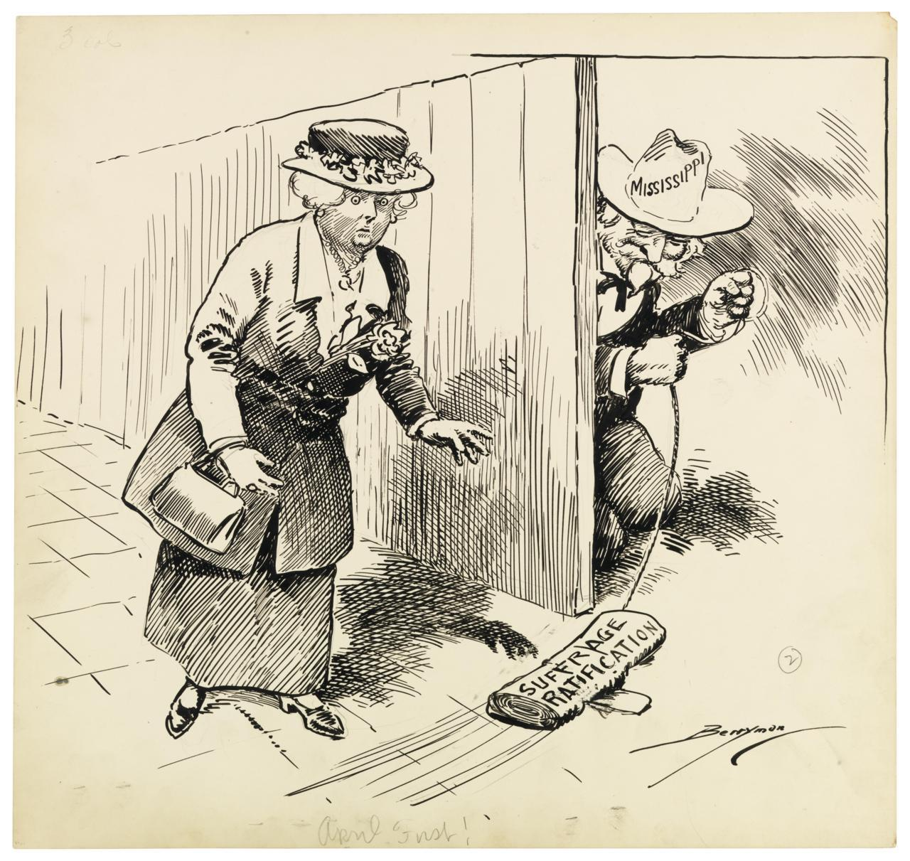 congressarchives:  On June 4, 1919, the suffrage amendment passed both houses of Congress and was sent to the states for ratification. Initial efforts to secure the right to vote for women in the late 1800's and early 1900's achieved some success at the state level, but women's organizations finally concluded that an amendment to the U.S. Constitution was essential for woman suffrage. World War I played an important role in helping women achieve the right to vote as many women began to work outside the home to support the war effort. In 1917 President Woodrow Wilson called for a Constitutional amendment, and though the House passed a woman suffrage amendment in 1918, it failed in the Senate, largely because of the opposition from southern states. After the amendment passed Congress in 1919, many states quickly approved it, and on August 18, 1920 Tennessee became the 36th state to approve the amendment. Two weeks later, on August 26, Secretary of State Bainbridge Colby signed the certification that the required number of states had ratified the Nineteenth Amendment. However, in early 1920, five states rejected the amendment. Mississippi was among them. Political cartoonist Clifford K. Berryman portrays the Mississippi rejection as an April Fool's joke played on the suffrage movement. April First by Clifford K. Berryman, 4/1/1920, U.S. Senate Collection (ARC 6011595)
