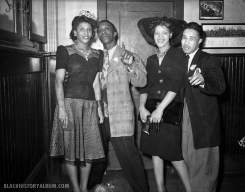 "Hipsters | 1943 A group portrait of two African American couples, circa 1943. Charles ""Teenie"" Harris, Photographer.Carnegie Museum of Art. African American vernacular photography via Black History Album. FIND US ON TWITTER 