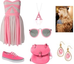^^ by shilky featuring pink sneakersLipsy dress, €152Pink sneaker, $78Dooney bourke handbag, $198Juicy Couture dangling jewelry, $58Anna Lou crystal jewelryKaren Walker round metal sunglasses, $276