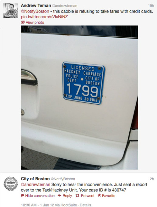 Social media + annoying Boston cabbies + responsive city = win.