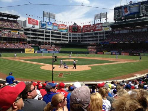 From RooneyChick's 5 star seat, during a very sunny game, at Rangers Ballpark the whole field is in front of you & everyone is watching a foul ball. (via Rangers Ballpark section 25 row 12 seat 18 - Texas Rangers vs Toronto Blue Jays shared by Rooneychick)