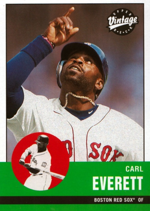 Random Baseball Card #959: Carl Everett, outfielder, Boston Red Sox, 2000, Upper Deck.