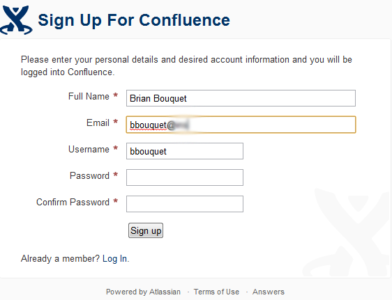 Confluence - Username is auto-populated as you enter your email address, and stops when @ symbol is typed.  /via Brian