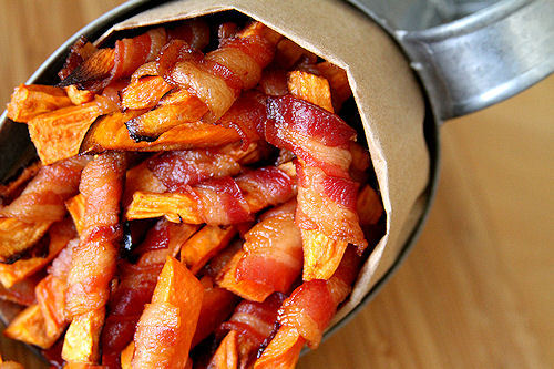 laurenward:  bacon-wrapped sweet potato fries.  Come to me