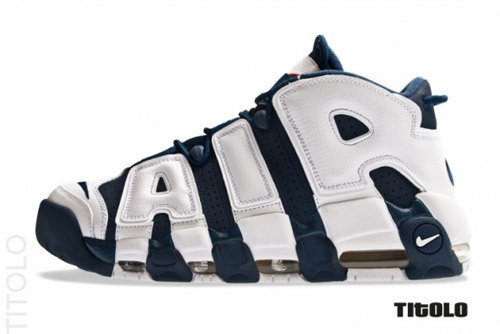 "Nike Air More Uptempo ""Olympic""Joining the Nike Air Force 180 and Shox BB4 Olympic-inspired colorways is another classic model to hit retailers this summer. As part of the ""Olympic Pack"", the Nike Air More Uptempo made famous by MJ's right hand man, Scottie Pippen. The colorway is predominately in Mid Navy and White with Sport Red accents throughout the shoe.It's also equipped with the ""More"" air unit for maximum comfort. And of course, the classic ""AIR"" still adorns the medial and lateral sides. The Nike Air More Uptempo Mid Navy/White-Sport Red is scheduled to hit retailers in July. Stay tuned for the latest release updates."