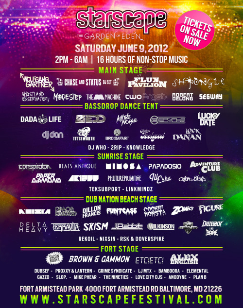 Who are you excited about seeing? For me, it's Wolfgang Gartner, Delta Heavy, Camo and Krooked, Dada Life, and 2rip!