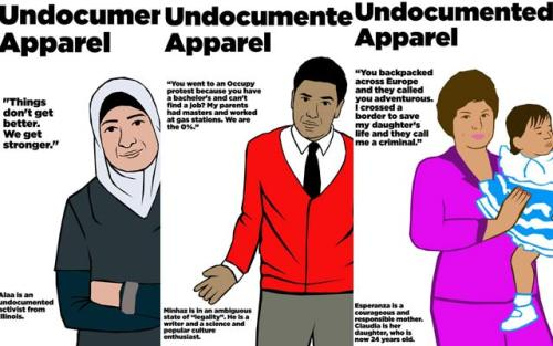"Undocumented Artist Gives American Apparel's Farmer Ad a Political Twist For Julio Salgado, telling the uncomfortable truth is its own reward — a way for disenfranchised folks to own their stories before someone else, ally or otherwise, co-opts them. He's come out of the closet twice, as queer and as undocumented, to different groups of loved ones. His recent 'Undocu-Queers' poster series has shown in galleries across the country, each piece providing the name, face, and story of a person at his same intersection of two much-commoditized demographics. As co-founder of media activist collective Dreamers Adrift, he's helped undocumented youth tell their whole story in all senses, whether that means sketch comedy or showcasing undocumented API experiences or both at once. ""I used to say 'I want to be a voice for the voiceless,'"" he says. ""But that's problematic because people have a voice! We just choose not to hear."" And when he saw American Apparel's new magazine ad — in which a scantily-clad young white woman identified as 'studying public relations' clings gingerly to a dark-skinned Latino 'farmer' named Raul — Salgado didn't bother pretending not to be pissed off. ""My first thought was, this is so unrealistic,"" says Salgado. ""I did construction work for a couple of summers while I was in college, and I worked with guys who looked like that - you know, day laborers. And that image in the ad brought me back to one time when we were working on a hotel, putting in tile. Women who look like that model were walking by, and would pass by and totally not pay attention to us, would ignore us. The reality is, people like that usually are ignored. ""So what exactly is it that American Apparel is trying to say here? Is it, 'See? There's unity? We like you!' That's not how it happens, and American Apparel has always used people, especially women, as objects. Were they just doing this to get on the undocumented wagon?"" Though Salgado is a lot of things — an activist, a college-educated journalism major, a self-taught digital artist who actually draws with a mouse and seems not to know what a Wacom tablet is — the adjective that should really scare his adversaries is 'prolific.' Within hours of joking that 'being undocumented is hot right now!' Salgado started posting original 'Undocumented Apparel' satire images to Facebook and Tumblr. Each 'model' in the ongoing series is a real acquaintance of Salgado's, accompanied by an acidic quote contrasting their lives to American Apparel's upwardly mobile clientele. It's meme-jacking at its best: the instantly recognizable American Apparel aesthetic, rewired to remind us what real concern for justice looks like. Salgado meets me for boba tea at my neighborhood karaoke bar in Oakland; sadly, we didn't have time to sing anything. He's a busy dude. At every pause in our talk, he's discreetly organizing an event via SMS under the table on what he calls his MetroPCS 'undocu-phone.' I have aspirations to play devil's advocate about the original American Apparel ad, because I thought it had some potential as a conversational tool: American Apparel uses their own employees as models, so Raul's presence in the ad could be seen as paying due acknowledgment to American manufacturing's hushed relationship with low-wage immigrant workers. Isn't that an interesting little point to discuss? Graciously, Salgado answers my point before I make it. ""I wrote a piece for the Huffington Post and asked my friend [fellow DREAM Activist] Prerna [Lal] what it's like to be queer and undocumented right now, and she said, 'it's an academic fetish,'"" he laughs. ""For us, it's not an experiment, you know? It's not, ooh, let's try to figure out - it's our lives! And there's definitely people who jump on that and who want to 'explore' us as if we're an experiment. Or this - it's an ad for clothing, but it's our lives."" In keeping with his command of narrative, Salgado is great at ad design. His sloganeering, detail-wiped aesthetic (reminiscent of the Black Panthers' Emory Douglas) is a perfect fit for our era of one-click social shares. It's easy for the viewer to see themselves in, but unlike advertising, it's used as a vehicle for real stories told by folks who aren't heard. And more often than not, his work has a knife-twist of delightfully contentious vitriol, ensuring that people will be forced to think and engage; while Salgado could easily frame himself and his family as ""perfect story"" immigrants, he's got no interest in being anyone's model citizen-awaiting-permission in an unjust, lethal system. Salgado came to Los Angeles with his family in 1995, when he was 11; they came from Mexico with passports, in keeping with what the United States' immigration system required at the time. But when his little sister's kidney condition turned out to be life-threatening, her surgeon presented the family with two options: stay in the United States during her long recovery period, or risk her life by travelling back to Mexico. His parents made the obvious choice. And since they couldn't extend their stay without returning to Mexico, they became undocumented, permanently altering their ability to cross the border safely. As with so many immigrants, a short-term visit was suddenly a whole new life; his parents, both professionals in Mexico, took whatever bottom-tier jobs they could get to make ends meet. Salgado remembers his mother registering him for seventh grade while he cried, and how she made him be her translator even though they'd been in the country the same amount of time. Consciously bucking the sometimes-used Dreamer frame of good-kids-with-criminal-parents, Salgado paid tribute to his mother and baby sister by making them 'Undocumented Apparel' models, captioning their portrait with the quote ""You backpacked across Europe and they called you adventurous. I crossed a border to save my daughter's life and they call me a criminal."" As of this writing, the image has been shared 800 times on Facebook and 1000 times on Tumblr. Salgado doesn't have a Facebook fanpage for his art; he posts directly to his personal account. But his work does very well for itself with old-fashioned friend-to-friend virality. And a few months ago, he moved away from Los Angeles for the first time to collaborate contemporary art-activist firebrand Favianna Rodriguez with her work at Stanford — an offer she extended after seeing his work shared on Facebook. ""I follow the comments on shares of my pieces, and often people will just write 'Real talk' or 'why aren't we talking about this?' On my mom's portrait, I got a lot of messages from people saying 'that's my mom, right there.'"" Does he consider Facebook part of his medium? ""Totally, yeah!"" says Salgado. ""It's - I mean literally, it's my wall. I don't know what I'd do without it. I saw that movie Exit Through the Gift Shop, about the street artists, and all I could think was, 'yo man, I totally want to do that! But… these are all just white dudes!' If I tried that and got caught, I'd have so much more at stake than just getting a ticket or being arrested. I wouldn't see my family again for a very long time. Again, the question is who has access to do what."" As he describes it, street art is completely in line with his modus operandi: a way to call out a system in which corporate ads, like American Apparel's woman-exploiting billboards, don't ask your permission to be seen by you, but street art that doesn't make money is illegal. It's a dynamic he's excluded from messing with. Or, as Salgado says, ""Facebook and Tumblr, those are my streets! Because I ain't trying to get arrested.""  He mentions another recent piece, inspired by the military-only iteration of the DREAM Act: a dark-skinned young man in cap and gown, middle finger raised to the viewer, with the caption 'I'D RATHER BE UNDOCUMENTED THAN DIE FOR YOUR ACCEPTANCE.' ""I had Dreamers telling me 'you're portraying Dreamers in a really negative light.' People don't like us already! You're thinking that by you being extra-good and not really showing how you really feel, you're going to… it's just not healthy. It's not healthy to create this persona that's not you, to try to be perfect to fit in. ""That used to be me too. And kids have taken their own lives because of these impossible standards."" He mentions the need to hold everyone accountable to the truth, including official allies — like mostly-progressive hipsters, or pro-legalization American Apparel, or the Democratic Party. ""When students got arrested in DC, folks who were for CIR were talking down to DREAM Act students, saying, 'you're not doing what the Democratic agenda wants you to do, you're acting out.' Why can't we? Why can't we be who we are?"" Salgado talks about the piece he'll be finishing later that night, a portrait of a young Muslim undocumented activist quoted as saying 'Things don't get better. We get stronger.' I gather that the subtle jab at the colorblind marriage-and-military agenda of mainstream gay-rights movement is part of what Salgado likes about this piece. ""The DREAM Act hasn't passed. Comprehensive immigration reform hasn't passed,"" says Salgado. ""But the fact that I'm able to sit in front of somebody and say I'm undocumented and you can use my real name? That's because we've created a community that we know is going to be behind us. I'm so comfortable about being open about this because I know people are going to have my back. And this has happened because of people fighting at the forefront, even though people weren't going to be on their side."" My last question for Salgado, before he runs to check out a gallery space in downtown Oakland: imagine he's just been put in charge of all of American Apparel's advertising. He can't directly change anything else about the company - he can't change the working conditions or Dov Charney - but he's got carte blanche with every single billboard, magazine ad, and popup window across the world. Does he destroy the company from the inside out? Does he force it to take accountability? Does he promote his own art and ignore the company altogether? What does he do? He thinks for a minute, then laughs: ""Am I forced to take this job?"" I offer to end the interview on a zinger, but Salgado continues. ""Maybe it's still too fresh and I'm still too angry to think about working with them on anything. But maybe I'd, you know… I'd do what I do. I'd portray people in a dignified light, and by that I mean, if I'm working with undocumented models, I'd ask them what they want to see, what they want to put in there. Which is essentially what I do: I ask people 'how do you want to use me? What can I do better?' That's what I think art should be: if you have that access, it has to be a collaborative effort."" For Salgado, in every scenario, listening is the real revolutionary act. (via Colorlines)"