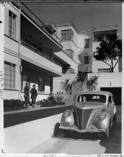 Deco apartments. And that car! losangelespast:  The Mauretania in 1936. The art-deco landmark on Rossmore Avenue was designed by  Milton J. Black for actor Jack Haley, who lived in the penthouse for 20 years.