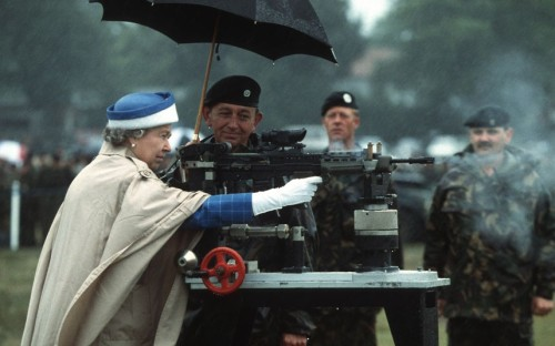 """15 July 1993: The Queen fires a rifle during a visit to the National Shooting Centre at Bisley, Surrey"", from The Queen's Diamond Jubilee: 60 years in 60 photographs at the Telegraph. Photograph: Rex Features. This image has been doing the rounds without attribution, but Simon turned up a source giving credit. (Thanks!)"