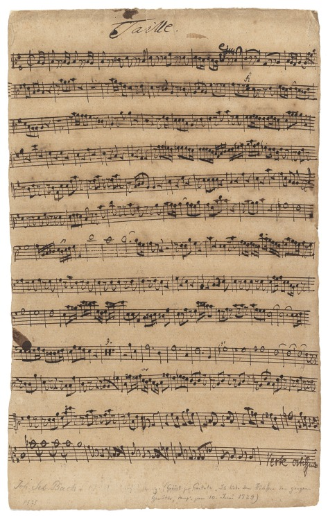 the-rx:  Bach, Johann Sebastian (1685-1750)The Manuscript 'Taille' [Tenor Oboe] Part For The Sacred Cantata Bwv 174 'Ich Liebe Den Höchsten Vom Ganzen Gemüthe' Valuable Printed Books and Manuscripts