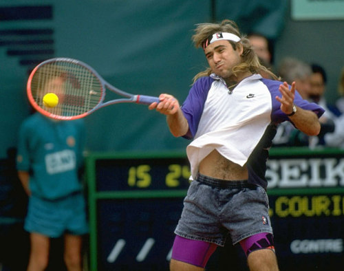 motherjones:  siphotos:  Andre Agassi fires a forehand during the 1991 French Open final against Jim Courier. Despite a great effort, Agassi lost in five sets. (Heinz Kluetmeier/SI) BEYOND THE BASELINE: Catch up on all the news in SI's tennis blogGALLERY: Iconic Photos of Andre Agassi  Are those jorts??  Sick jorts, dude.