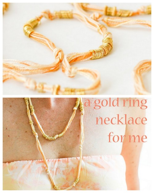 DIY Easy Summer Gold Jump Ring and Bead Necklace Tutorial. This is one of those projects I like because it is easy, cheap (jump rings), and anyone can do it and personalize it. Tutorial from flax & twine here. *You could substitute jump rings with pearls/shells (with large holes).