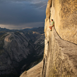 Alex Honnold on Half Dome, Yosemite.