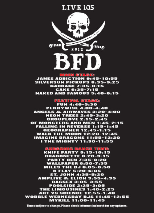 livenationbayarea:  Join us tomorrow (Saturday, June 2nd) for Live105's BFD at Shoreline Amphitheatre! Tickets are on sale now at Livenation.com or you can get em at the door tomorrow.