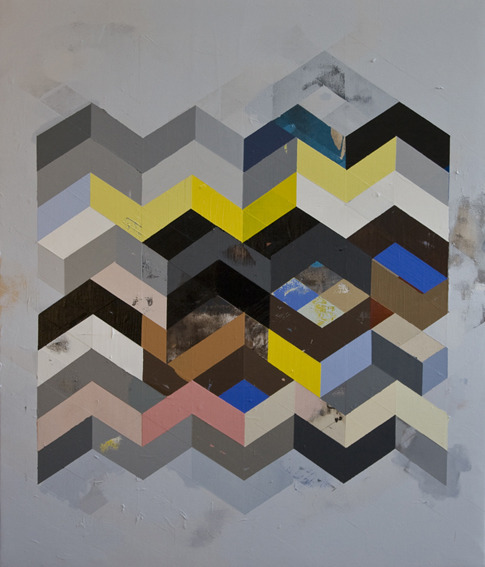 jeff depner RECONFIGURED GRID PAINTING NO.15, 2011 acrylic on canvas, 50 x 43""