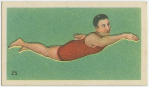 """How to swim."" chinese cigarette card"