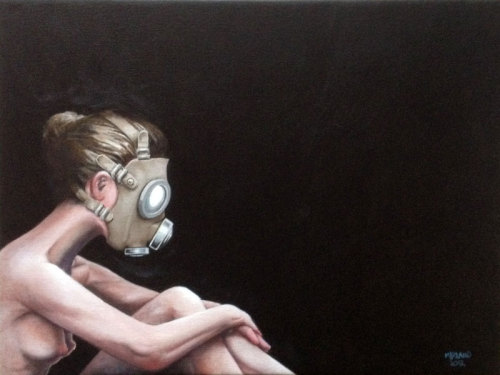 """Agoraphobic"", acrylics on canvas, 30 x 40 cm, 2012."