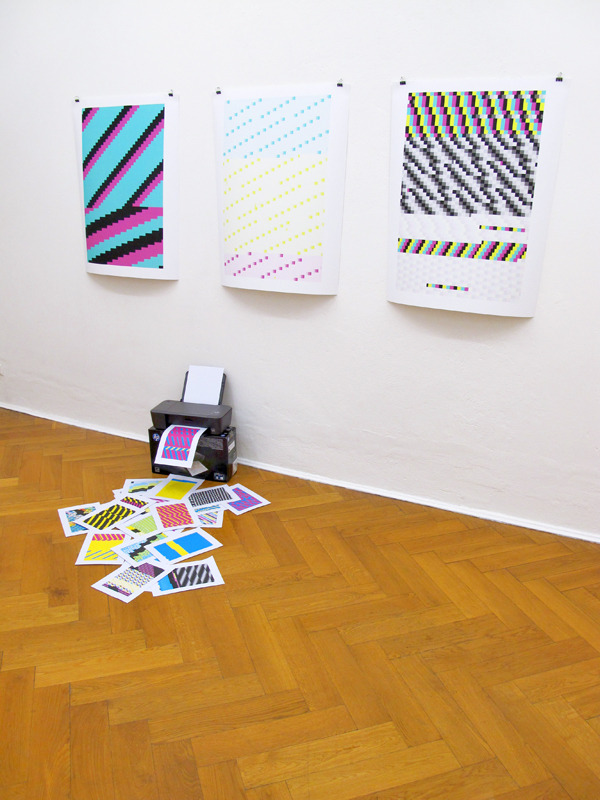 hendr-ik:  Anthony Antonellis at Info-Punkt Document 2012, inkjet prints, consumer inkjet printer installation dimensions variable