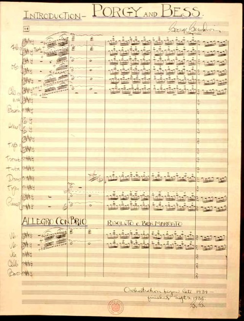 First page of the full score of Porgy and Bess, prepared by Gershwin between September 1934 and September 1935. From the US LoC.