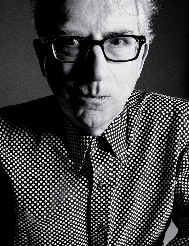 Author Peter Carey sports a dotted Tom Ford shirt.