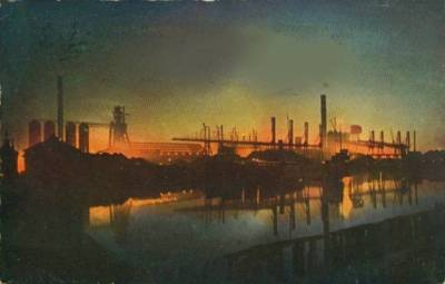 Chicago Steel Works at night (tinted photo), 1914, Chicago.