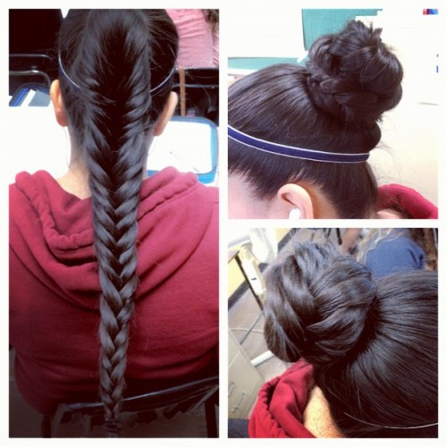 Like a boss! #longhair #bun #fishtail #braid #pretty #picstitch (Taken with instagram)
