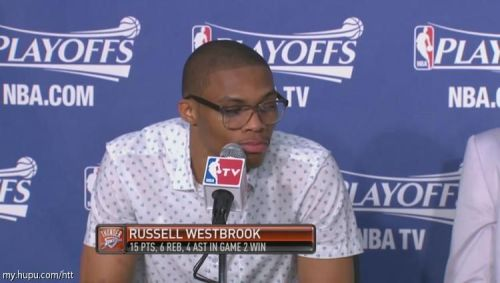 Another subdued look for Russell. Not sure if he's going for the hipster nerd look, or if he ran out of clothes and had to borrow that ensemble from his grandfather.
