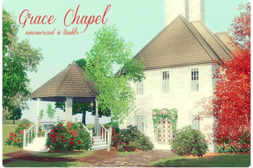 simesmerized:  Grace Chapel ~ Furnished♦ ♦ ♦Grace Chapel is a nice little chapel for your sims to get married.  There is the main area with seating for 18 wedding guests.  You'll also find a small reception area with a buffet, a place to put your wedding cake, tables and chairs, and a small dance floor and stereo.  And of course, a small bathroom.  Outside I've done a lot of a landscaping.  There's a lovely bench under one of the trees, a garden with a fountain, and the gazebo.♦ ♦ ♦Lot size: 20 x 30Lot price:  60k~ (it's a community lot so I didn't write it down)- main wedding area- reception area- bathroom- lots of cute places (gazebo, fountain, bench under tree)You'll need all EPs except Showtime, no stuff packs.  CC is included.  I wasn't sure  if the candles on the table on the balcony got included (didn't see them when I scanned) so I added them to the zip as a precaution.  As always playtested and scanned with Sims 3 Pack Cleaner.♦ ♦ ♦More screenshots [HERE]♦ ♦ ♦Download lot (CC INCLUDED) —> [MEDIAFIRE]