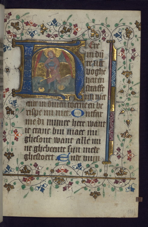 jothelibrarian:  Pretty medieval manuscript of the day is another from Walters Museum MS 188. Fab, isn't it? This scene shows St Michael, scales at the ready to weigh souls. Image source: Walters Museum MS 188.Creative Commons licensed via Flickr.