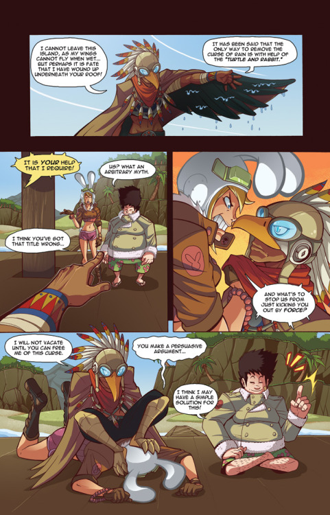mikeluckas:  TORTOISE AND HARE part3 pg3 by =MikeLuckas Professor Tortoise is on the case! I'm not really certain how Bird-man's wings/cloak works.