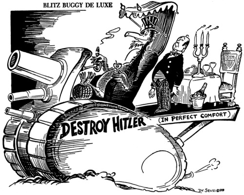 Did you know #DrSeuss drew political comics during WWII before he became known for his children's books?