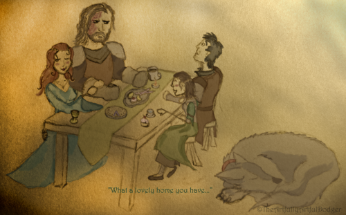 """What a lovely home you have! - Gendry, stop staring.""""I can't. O_O""Yet another quick sketch fan art.Since it seems a lot of people who ship Sansa/Sandor also ships Arya/Gendry I asked myself what their family dinners would look like, and this was my first impression.I don't know why, but for some reason I don't think Sandor would be too keen on Gendry at first.Can be seen on my DA here;http://thecosfuldodger.deviantart.com/art/Family-Dinner-305734891"