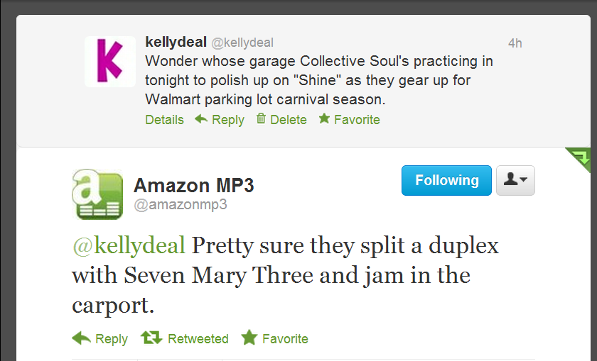 Person who manages the @AmazonMP3 Twitter account, whoever you are, I salute you!