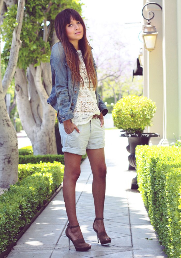 "Jacket: Madewell  |  Top: Zara (similiar here and here)  | Shorts: Kasil Workshop (cool color here) |  Heels: BCBG ""Joy"" (image: sincerelyjules)"