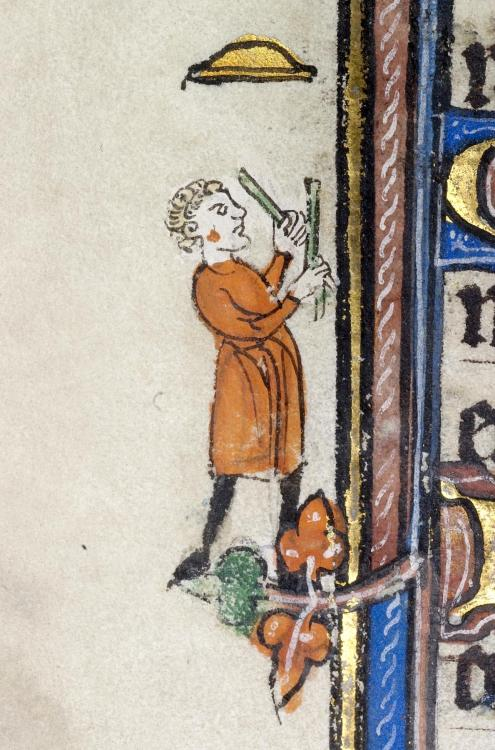 jothelibrarian:  Pretty medieval manuscript of the day is a juggler! Look at this chap, and how high he throws the golden plate! It is from a fourteenth century French manuscript which also has scenes of jousting and medieval sport. Image source: Walters Manuscript MS W 104.  Image declared as public domain on Wikimedia Commons.